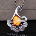 Exquisite Jewelry Charm White Gold Plated Pendant Bule/white/Pink/Orange Fire Opal AAA Zircon Pendant Necklace Jewelry 5colors