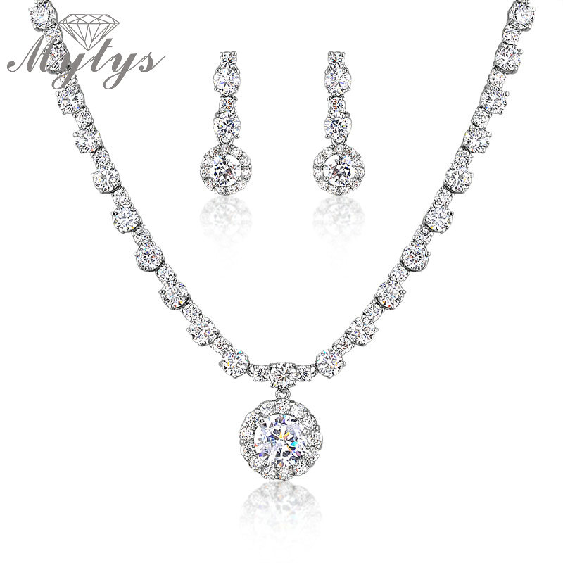 Mytys AA Crystal Jewelry Sets For Women Crystal Round Pendant and Drop Earrings Beaded Crystal Chain Jewelry Sets CN162 недорго, оригинальная цена