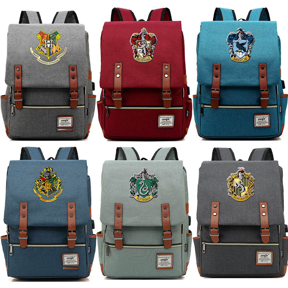 For Vip Link Dropshipping Magic Slytherin Gryffindor Hogwarts Boy Girl Student School bag Teenagers Women Men USB Belt Backpack