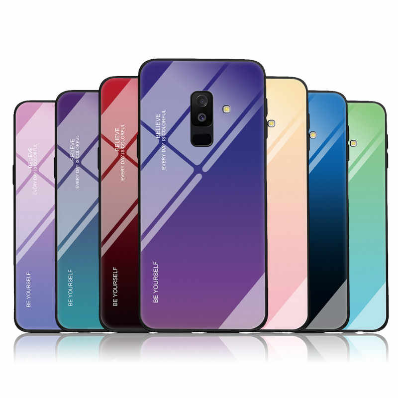 For Samsung Galaxy A5 A7 2017 J4 J6 Plus 2018 Gradient Case For Samsung A6 A8 Plus J8 A7 2018 M40 A50 A30 Tempered Glass Cover