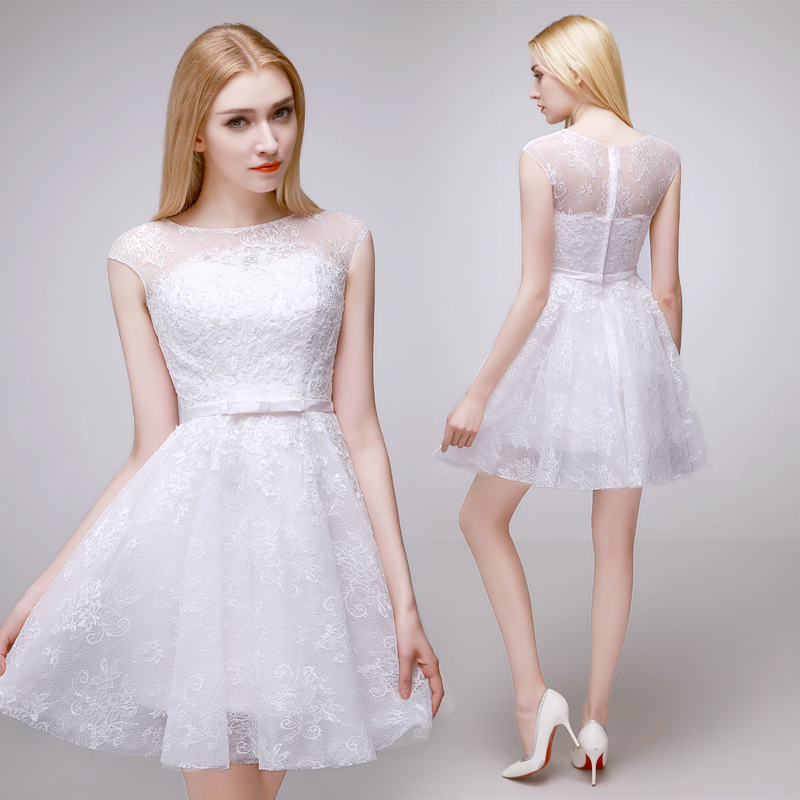 Aliexpress.com : Buy Cap Sleeve White Lace Short Prom Dress Sweet ...