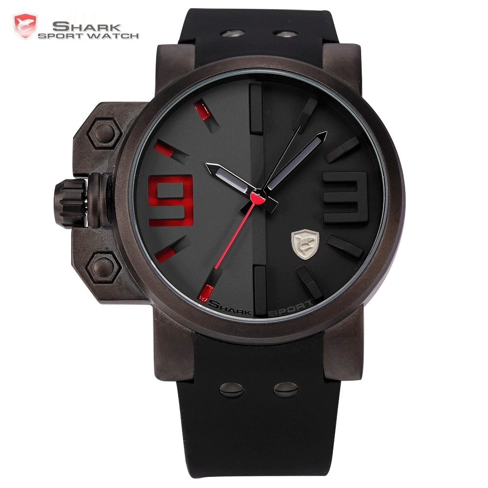 Salmon SHARK Sport Watch Luxury Brand 3D Red Dial Analog Silicone Band Mens Army Military Quartz