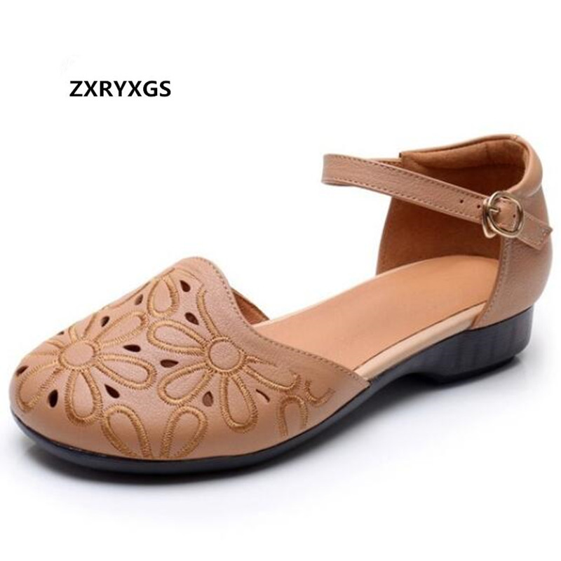 New Embroidered Cowhide Hollow Summer Leather Sandals 2019 Summer Wild Women Fashion Sandals Comfortable Flat Shoes Large SizeNew Embroidered Cowhide Hollow Summer Leather Sandals 2019 Summer Wild Women Fashion Sandals Comfortable Flat Shoes Large Size