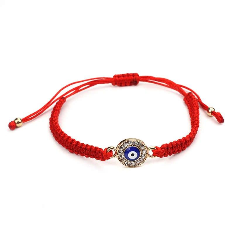 Wish การ์ด Lucky สีแดงสีดำ String ด้ายสร้อยข้อมือสีฟ้าตุรกี Evil Eye Charm ผู้หญิง Handmade สร้อยข้อมือแฟชั่นเครื่องประดับของขวัญ EY31