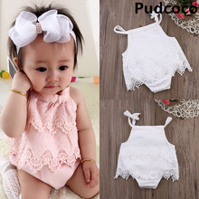 Summer  Lace Romper Baby Girls Crocheted Sleeveless Spaghetti straps Jumpsuit Outfit Sunsuit Flower Clothes 0-18M 2017 summer baby girls clothes sleeveless watermelon infant bebes romper backless halter jumpsuit headband 2pcs outfit sunsuit