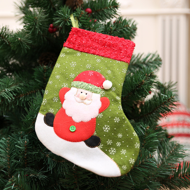 2019 new year merry christmas snowflake socks decorations for home accessories small christmas stockings gift bags - Small Christmas Stockings