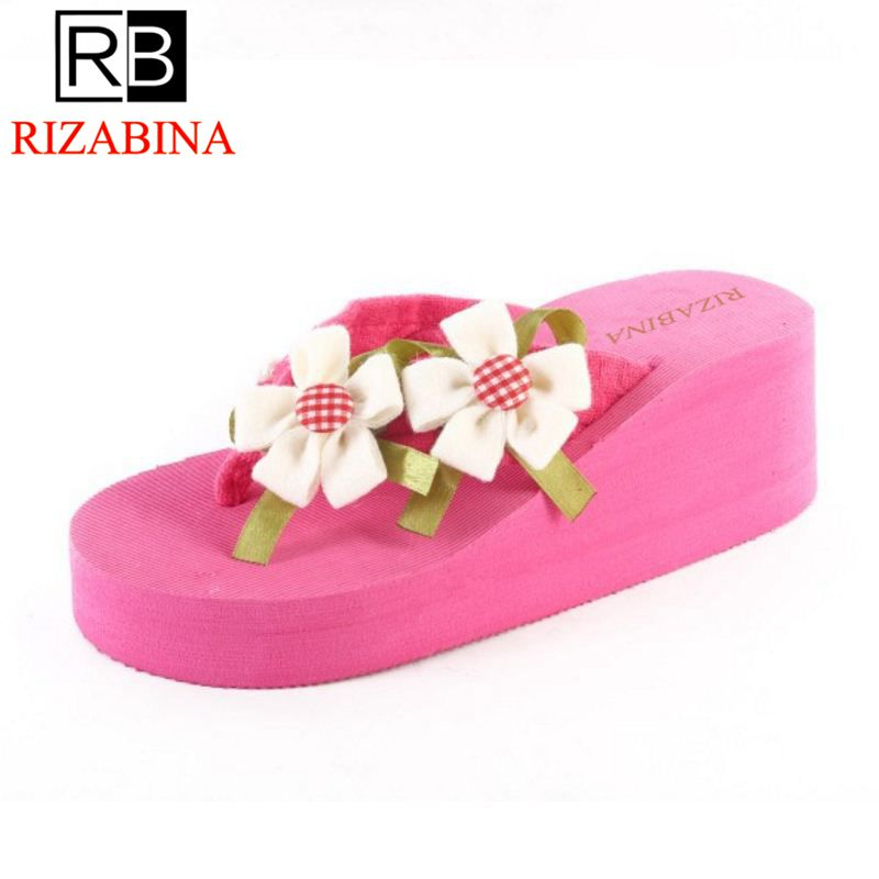 RizaBina Summer Beach Shoes Women Thick Paltform Wedges Slippers Women Flower Flip Flops Shoes Soft Footwear Size 36-39