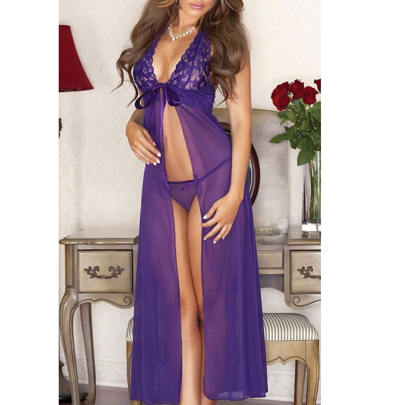 New Sexy Babydoll Sleepwear Women Lace Chiffon Night Dress With G-String Sexy V-Neck Backless  Nightgowns Nightwear