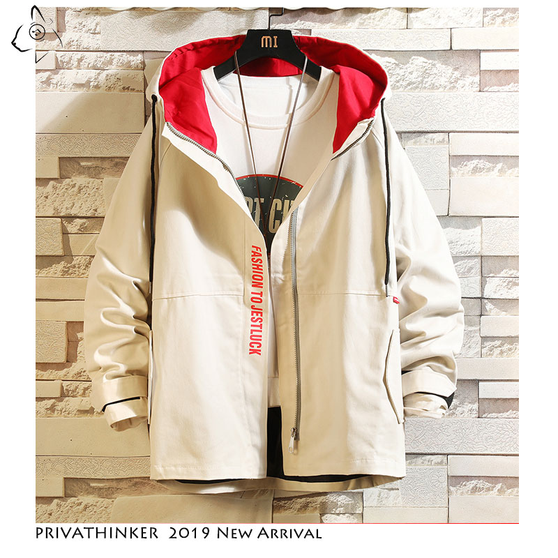Privathinker 2019 Autumn Man Safari Style Jackets Mens Vintage Windbreaker Jacket Male Patchwork Casual Fashion Jackets Oversize(China)
