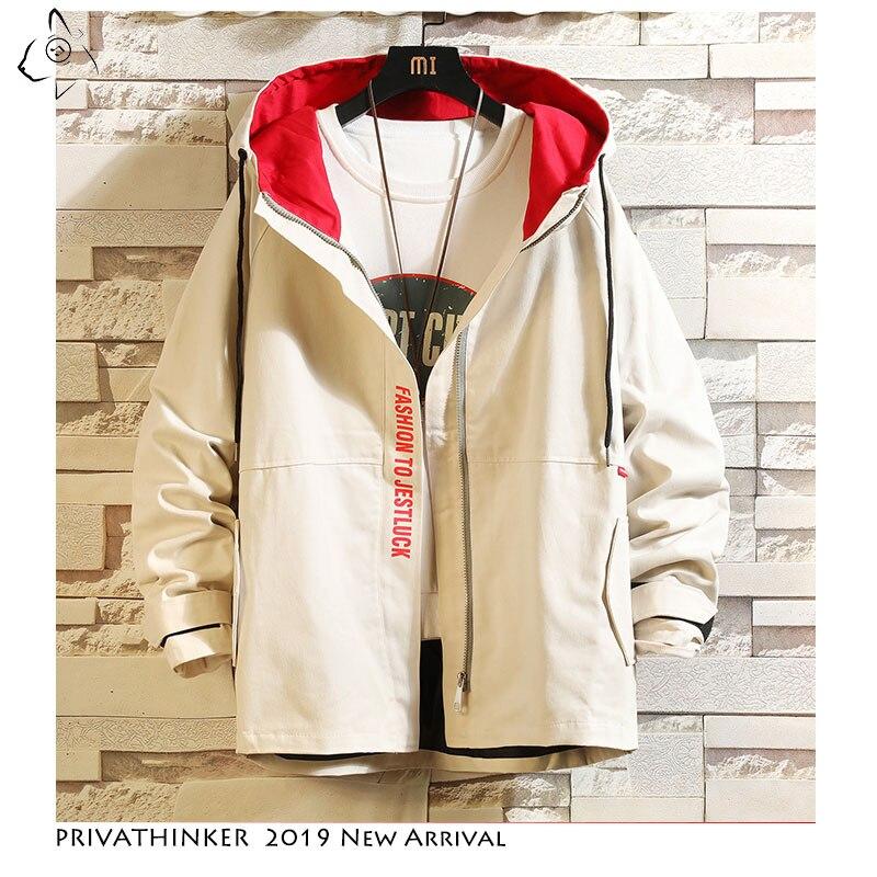 Privathinker 2019 Autumn Man Safari Style Jackets Mens Vintage Windbreaker Jacket Male Patchwork Casual Fashion Jackets Oversize(China)