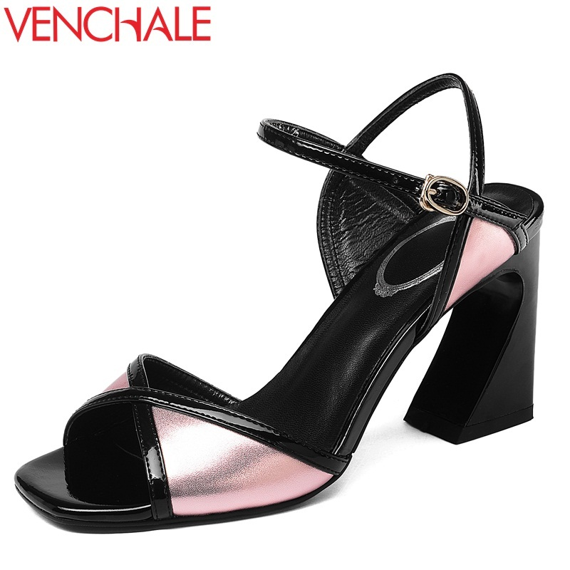 VENCHALE 2018 new fashion cow leather ankle buckle strap mixed colors super high strange style concise casual women sandals venchale 2018 summer new fashion sandals wedges platform women shoes height heel 10 cm buckle strap casual cow leather sandals