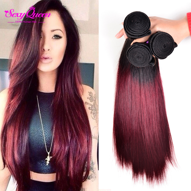 Annabelle Two Tone Ombre Malaysian Hair Burgundy Ombre Hair Weave