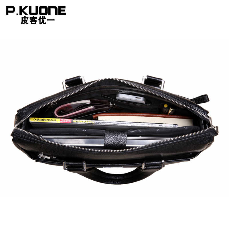 """P.KUONE  Brand Natural Genuine Leather men bag  14"""" & 15"""" inch Laptop Bag Formal Handbags Fashion business Briefcases"""