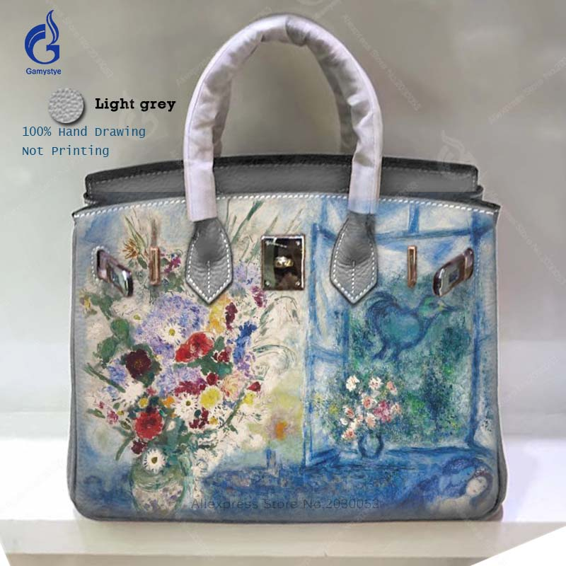 Detail Feedback Questions about Gamystye Larger Totes Real Genuine Leather  Handbags Women Famous Brand Design Bag Hand Painted Graffiti Flowers for  Ladies ... b3490f755b32d
