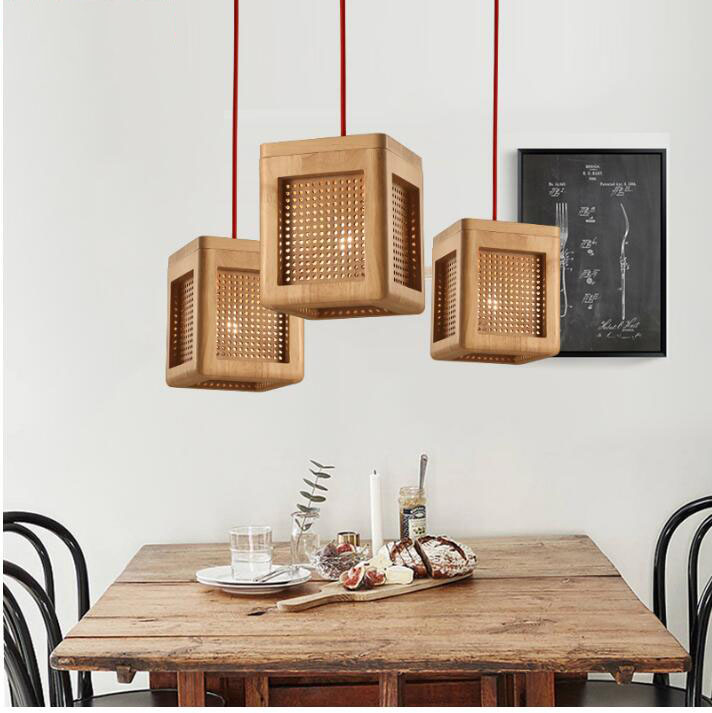 Creative Personality Japan Pandent lamp Dining Room Solid Wood E27 LED Pandent lights, 110V 220VCreative Personality Japan Pandent lamp Dining Room Solid Wood E27 LED Pandent lights, 110V 220V