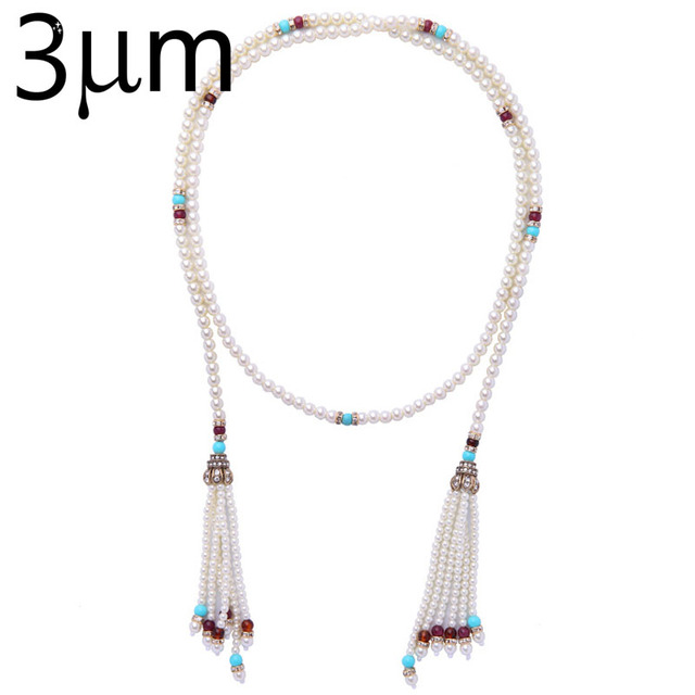 3UMeter Pearl Necklace for women ethic necklace color beads tassel long necklace bohemia style necklace for women grace trendy