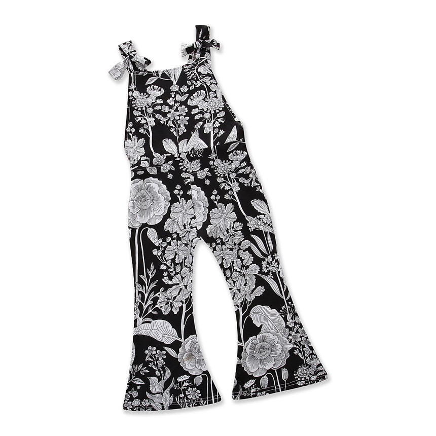 Baby Girl Clothes Fashion Newborn Toddler Kids Girls Floral Print Backless Overalls Romper Jumpsuit Playsuit Clothes 2-6 Years