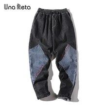Una Reta Jeans Men Streetwear Splice Black Denim Je