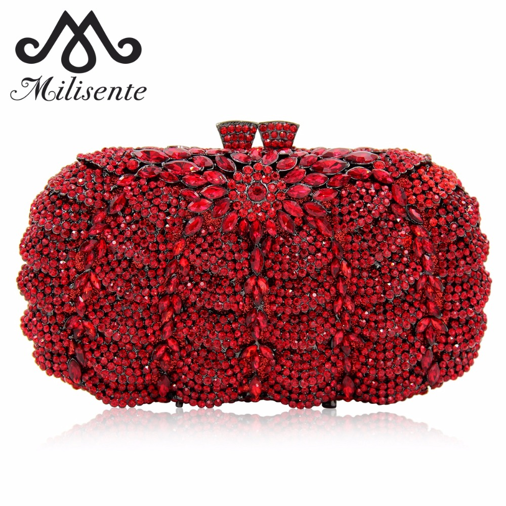 Milisente Luxury Crystal Clutches Evening Bag Women Clutch Silver Wedding Purse Party Bags With Chain luxury designer gold clutches flap women evening bags long chain tassel shoulder bag wedding party rhinestone clutch purse l897