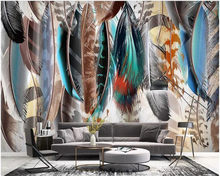 beibehang Customized modern minimalist hand-painted colored feather texture art background wall home decoration wallpaper behang