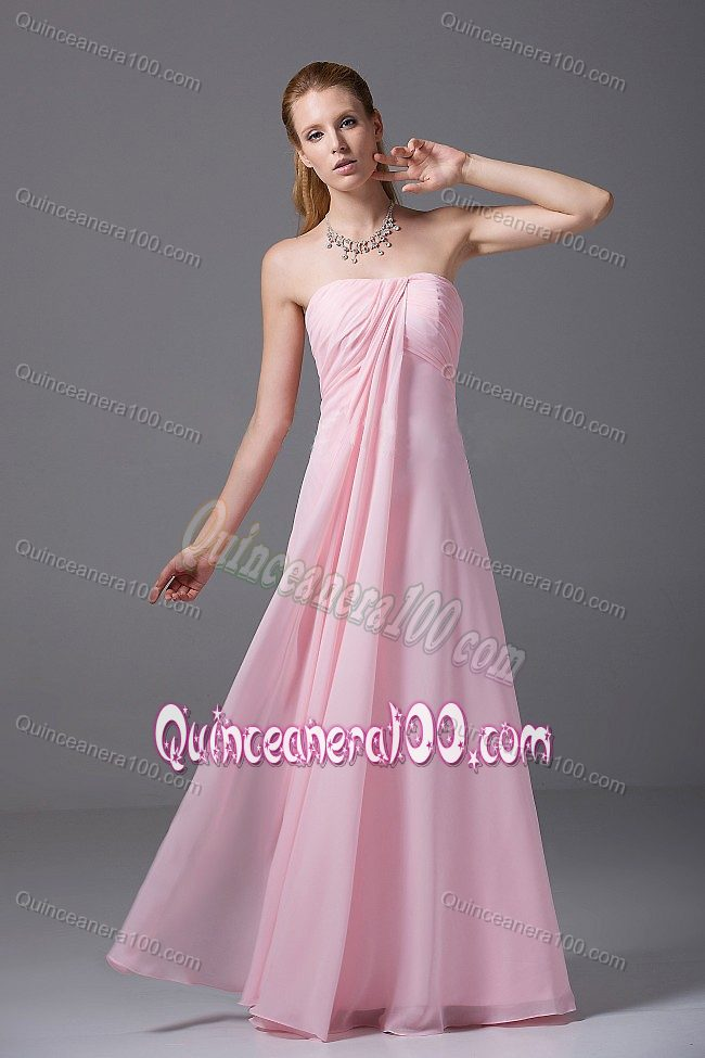 Pink bridesmaid dresses 2016 strapless long chiffon beach for Strapless dresses for wedding guests