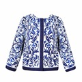 New Girls baby Blue and white porcelain printing Coat Autumn Round collar outerwear clothing wholesale 2016
