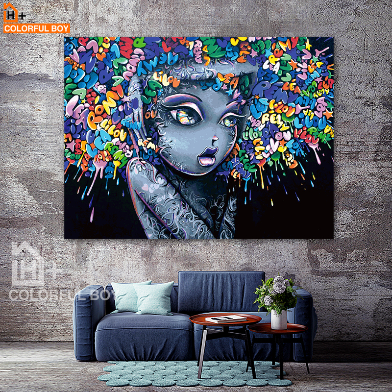 Colorfulboy modern creative abstract girl graffiti canvas painting for kids room wall art for Canvas prints childrens bedrooms