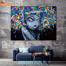 COLORFULBOY Modern Creative Abstract Girl Graffiti Canvas Painting For Kids Room Wall Art Posters And Prints Pictures Decor