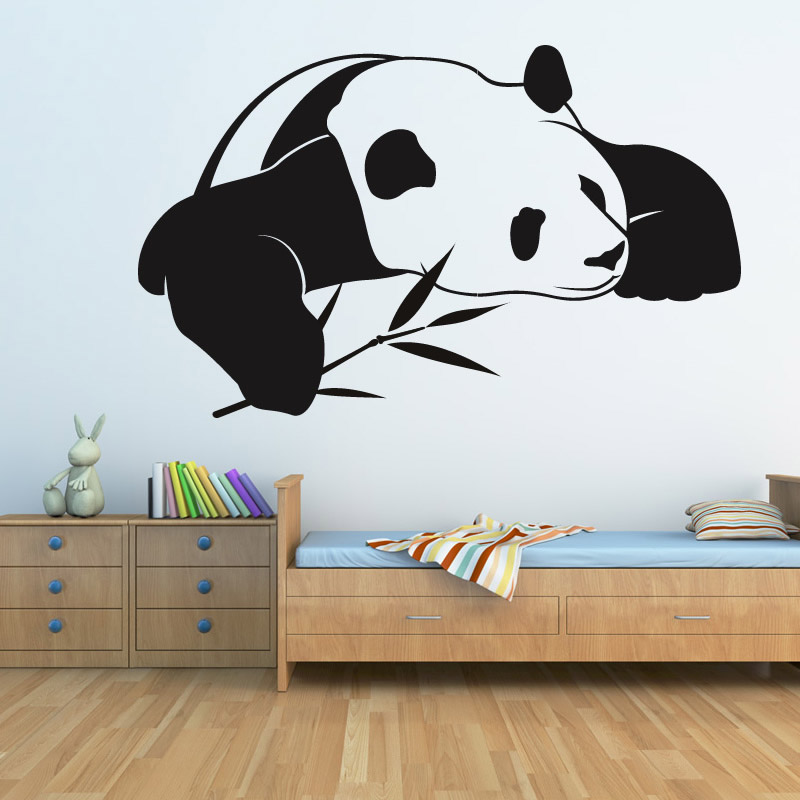 2015 New Style Animal Home Decor PVC Waterproof Self Adhesive Chinese Panda Wall Stickers Kids Bedroom Decoration