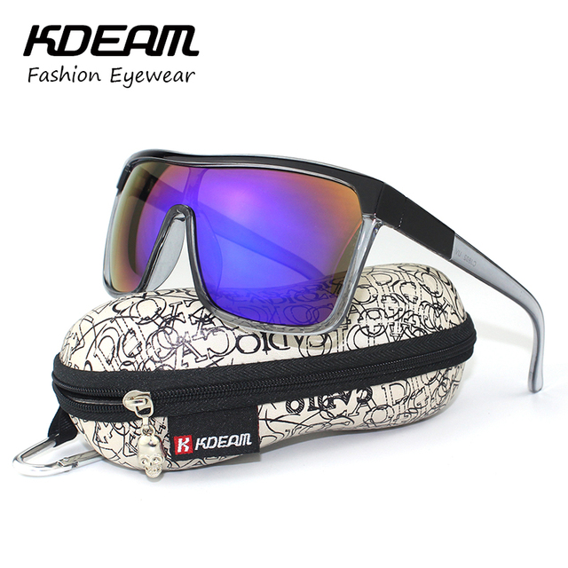 KDEAM Flynn Sport Shield Sunglasses Men UV400 protection Sun Glasses Women Vintage Big-size Goggles With Brand Hard Box KD802