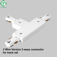 3 Wire Track light rail Connector fitting LED Rail Connectors three-way Aluminum Free Ship