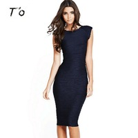 T O Women Summer Elegant Vintage Retro Deep V Back Sleeveless Solid Color Overall Ruched Party
