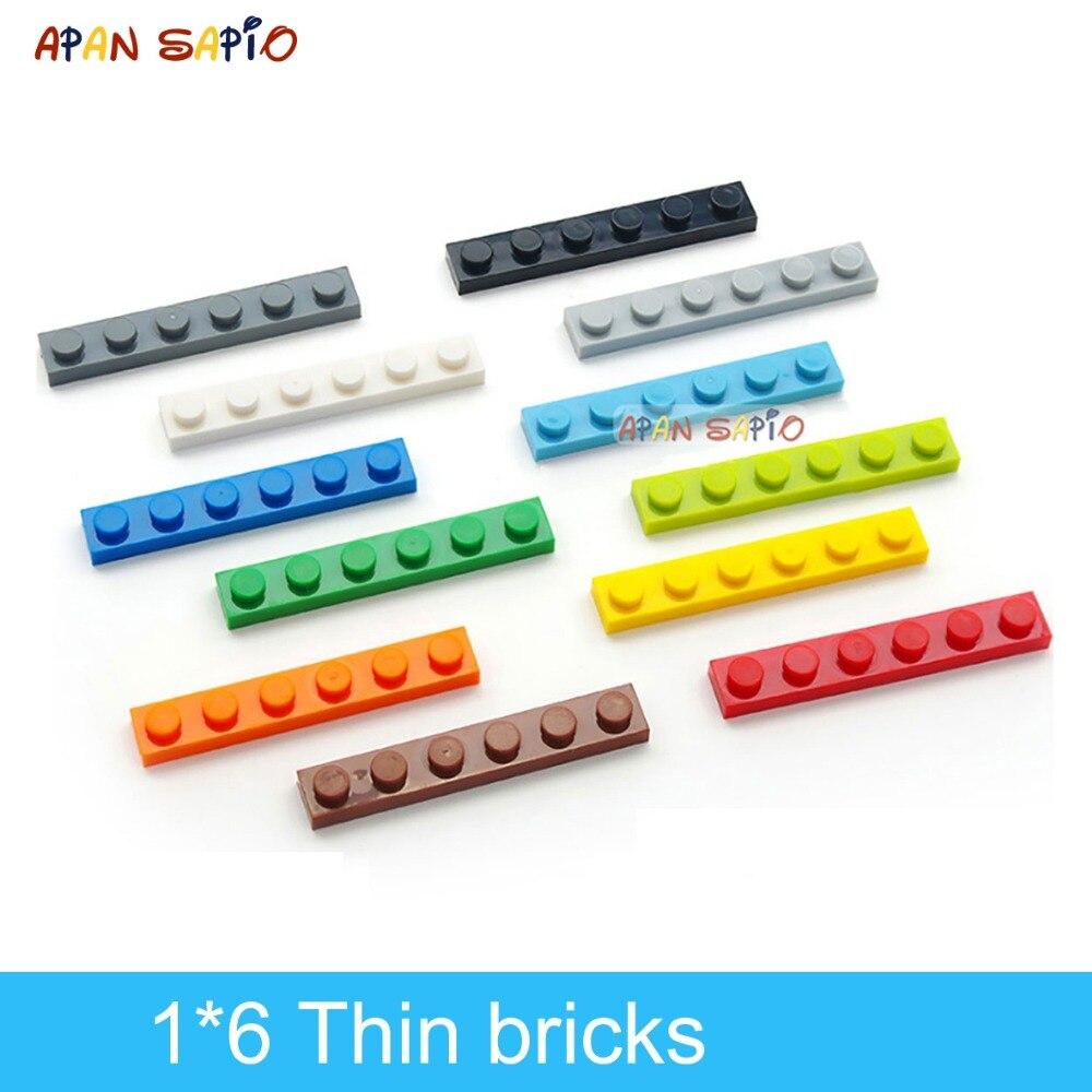DIY Building Blocks Thin Figures Bricks 1x6 Dots 80PCS Lot 12Colors Educational Creative Compatible With Legoe Toys For Children