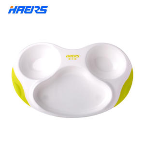 Haers BPA FREE Baby Food Plate Kid Dinner Plates Food Tray Dispenser Tableware Euro Style Service Dish YWP-01