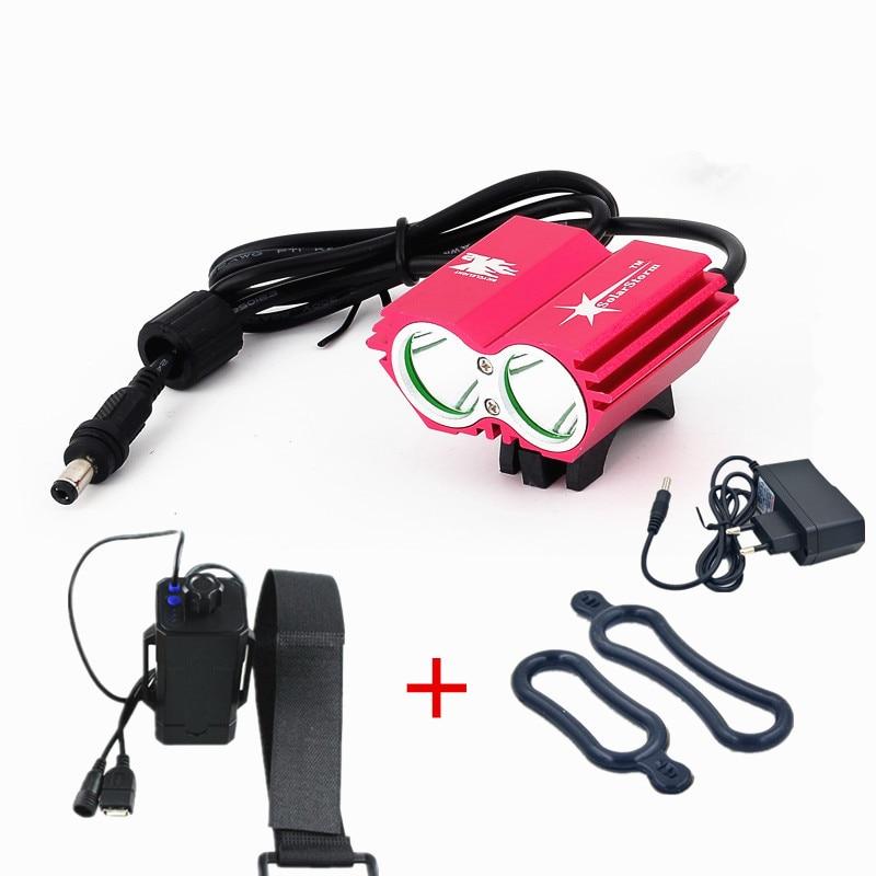 U2 vélo lumière lampe de poche étanche pour guidon de vélo LED vélo Lihgts accessoires de vélo + 8.4 V boîte de batterie