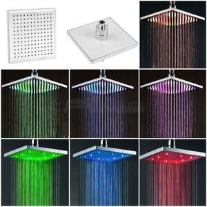 7-цветная насадка для душа с изменением дождя, 8-дюймовый квадратный датчик температуры, светодиодный светильник, водосберегающая ванна для ...