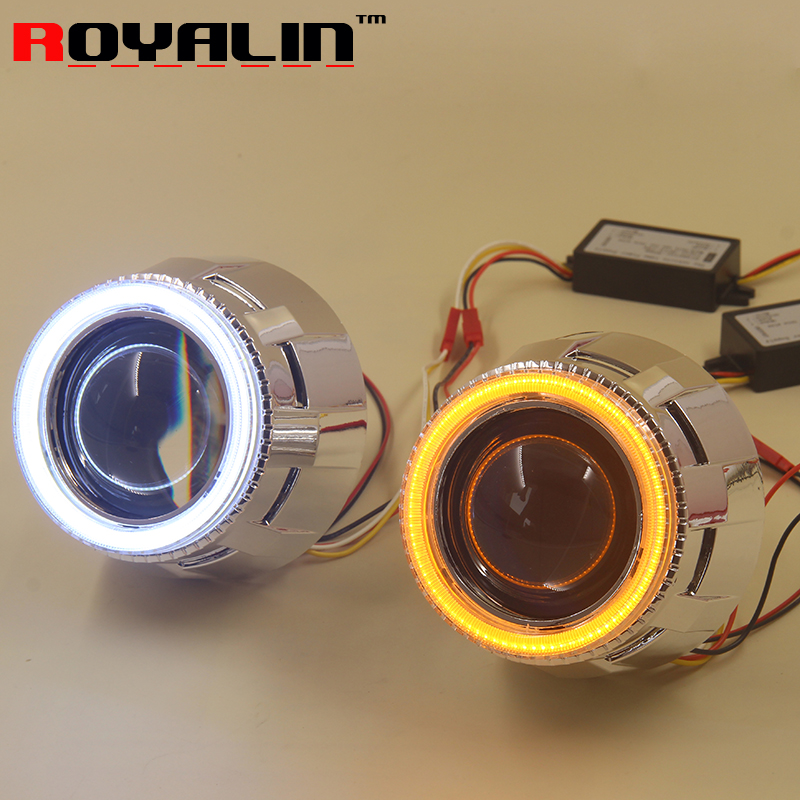 royalin led drl double angel eyes halo rings mini projector lens bi xenon h1 headlight shrouds white red h4 h7 auto lamps diy ROYALIN Auto Headlight Projector H1 Bi Xenon Lens LED COB Angel Eyes Dual Color Turn Signal DRL for H4 H7 Car Lights Retrofit