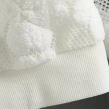 Round Neck Hedging Sweatshirt Lace Hollow Out For Women