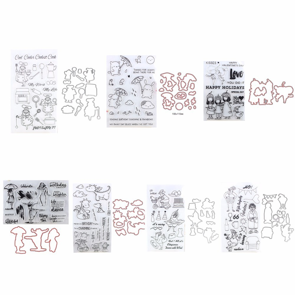 Women Girl Clear Cutting dies and Clear Stamp Set for DIY Scrapbooking Photo Album Decoretive Embossing Stencial angel and trees clear stamp variety of styles clear stamp for diy scrapbooking photo album wedding gift cl 163