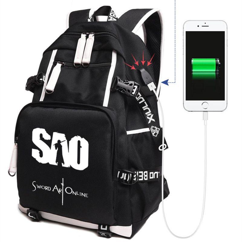 Femmes hommes Anime SAO épée Art en ligne USB Charge sac à dos sac à dos Mochila sac d'école pour étudiant 020803