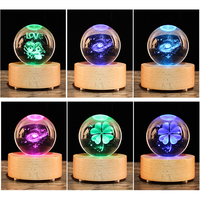 LED Light Crystal Ball Love galaxy Four Leaf Clover Music Box 3D Glass Constellation Globe Home Decoration Ornament