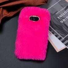 Warm Fluffy Rabbit Fur Phone Case For Samsung Galaxy S9 S8 Plus S7 S6 edge A3 J5 J7 2017 Cute Diamond Soft TPU Cover