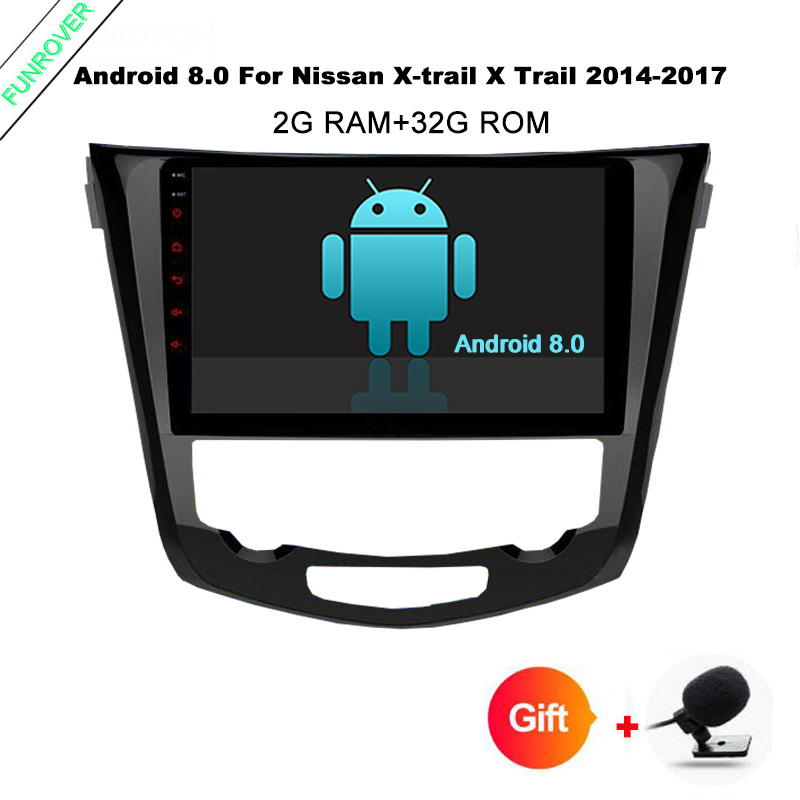 Funrover 10.1'' Android 8.0 Car DVD Player for Nissan X Trail Qashqail 2014 2017 gps radio tape record stereo rds wifi RAM 2GB