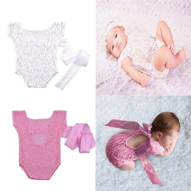 2f4d3d0d38d Newborn Photography Props Lace Romper Baby Girls Infant Photo Shoot Clothes  White Pink Romper