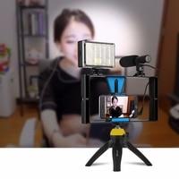 Multi Set Sale 2/3/4/5 in 1 Smart Phone Video Rig Mount + Stereo Microphone LED Studio Light Mini Tripod Factory Promotion