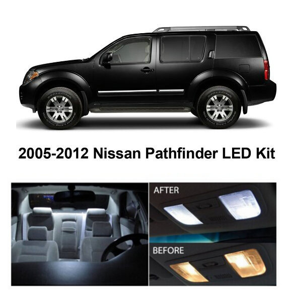 Free Shipping 8pcs Lot Car Styling Xenon White Package Kit Led Interior Lights For Nissan Pathfinder 2005 2017