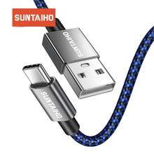 Suntaiho 6 v 3a 3.1 usb tipo c rápido carregador de dados cabo de náilon para xiaomi 5 5c 5S 5S plus 6 7 xiaomi mi9 para um mais 2 3 5 yota