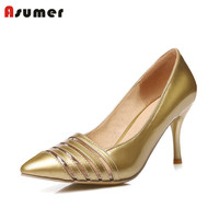 Plus Size 34 48 NEW Hot Sale Thin Heel Women Pumps Pointed Toe Cut Outs Simple