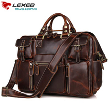 LEXEB Genuine Natural Leather Men Laptop Bag Briefcase Vintage Classic Business Travel Bags 42cm 15 Inches Computer Chocolate