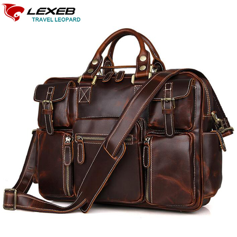 LEXEB Vintage Thick Cowhide Leather Satchel Briefcases For Men, College Back To School Messenger Bags, Overnight Travel Duffle 2015 wholesale back to heaven demon college dxd leah redrawing wire pole dancing editions of hand box